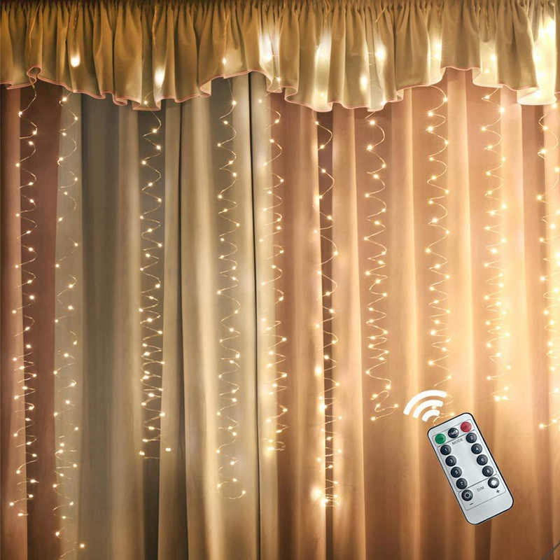Image 5 - Window Curtain Icicle String Lights with Remote & Timer, 300 LED Fairy Twinkle Lights with 8 Modes Fits for Bedroom Wedding Part