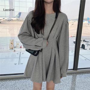 Осеннее Новое поступление, корейский стиль, приталенное модное платье со складками, рукавом «летучая мышь», студенческое платье с длинными ...