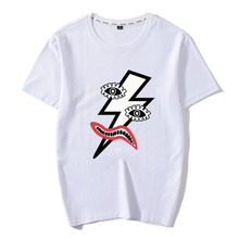 Anthropomorphic lightning Print New Men T Shirt 100% Cotton Fashion Street wear For Novelty Aesthetic Short Sleeve Tops