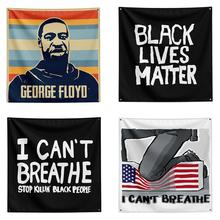 I CAN'T BREATHE BLACK LIVES MATTER Flag Tapestry Portable March Tapestry Wall Hanging For Outdoor Street недорого