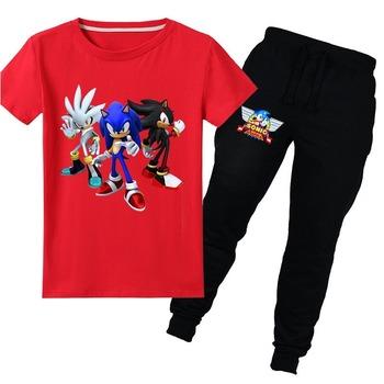 Wybuch kreskówka Sonic jeż bawełna z krótkim rękawem T-shirt spodnie garnitur lato sport rozrywka moda dom 4-15Y garnitur tanie i dobre opinie PEIHANTZ Sets Film i TELEWIZJA Unisex Dzieci Zestawy 1349 COTTON Cartoon Kids costume 110cm 120cm 130cm 140cm 150cm 160cm 170CM