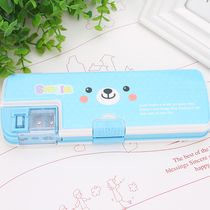 1 Pcs New Creative Four-color Pencil Case Fresh And Lovely Large Capacity Pencil Bag School Stationery Pen Box