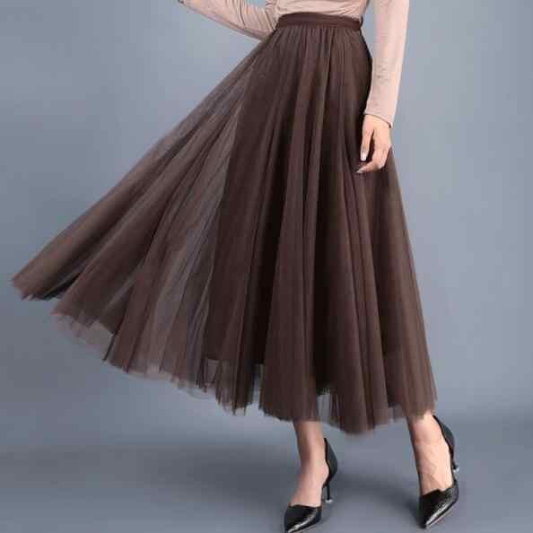 3 слоя Черный Бежевый Розовый Тюль винтажная юбка высокая талия пачка юбки сетки плиссированные женские Saia Женские Jupe Longue DV691
