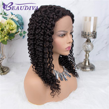 Kinky Curly Human Hair Wigs Pre Plucked Hairline Part Lace Middle Bleached Knots Remy Brazilian