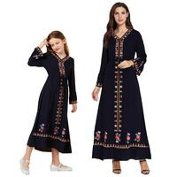 Mother and Daughter Clothes Dress Long Navy Blue Ethnic Embroidered Family Matching Outfits V Neck Flare Long Sleeve Autumn Wear