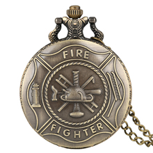 Винтажные пожарные карманные часы мужские Полный Охотник Скелет герой кварцевые часы Бронзовый корпус ожерелье цепь Reloj подарок
