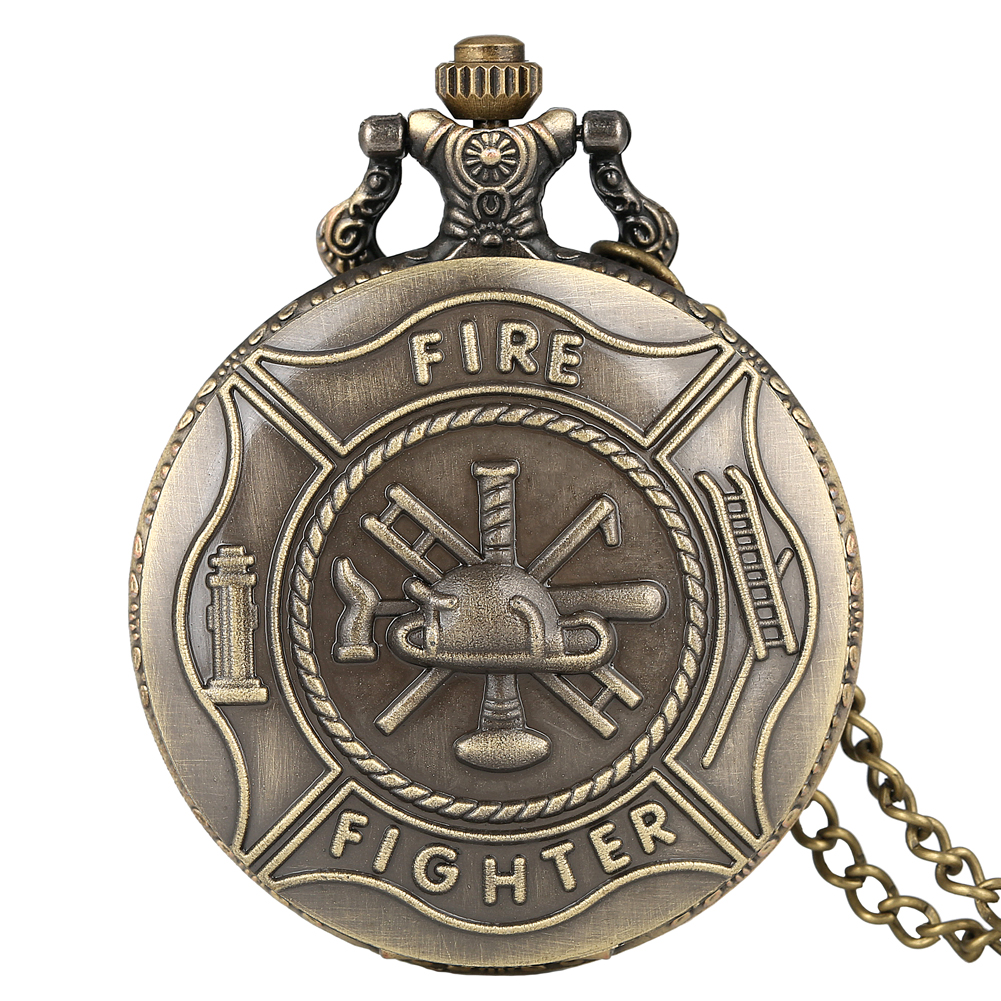 Vintage Fire Fighter Pocket Watch Mens Full Hunter Skeleton Hero Quartz Watches Bronze Case Necklace Chain Reloj Gift