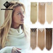 Весна солнце длинные шелковистые прямые Омбре серые синтетические волосы для наращивания на заколках 16 клипс поддельные волосы натуральные 22 дюйма 140 г