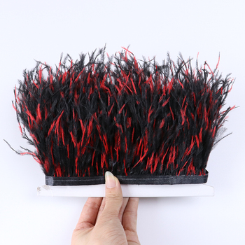 Wholesale 10 Meters Tie-dyed Ostrich feather Trim fringe 10-15CM For Dress Costumes Needlework Accessories feathers Crafts