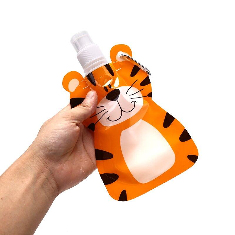 1Pc Foldable Cartoon Animal Water Drinking Cup Bag Travel Drink Bottle Safe For Kids Children Gift 22.2cm*13cm