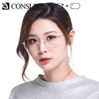 Prescription Eyeglasses Women Round Optical Glasses Myopia Transparent Lenses Blue Light Computer Eyeglasses 70025