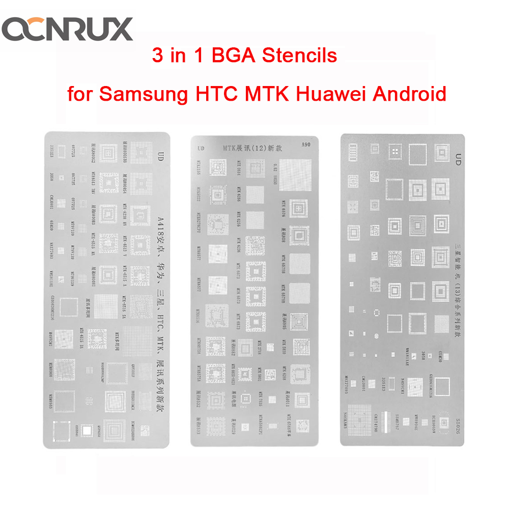 OCNRUX 3pcs/set Universal BGA Stencils For MTK Samsung HTC Huawei Android Directly Heated BGA Reballing Stencils   Kit