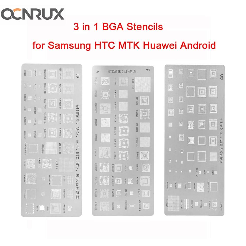 OCNRUX 3pcs/set Universal BGA Stencils For MTK Samsung HTC Huawei Android Directly Heated BGA Reballing Stencils   Kit