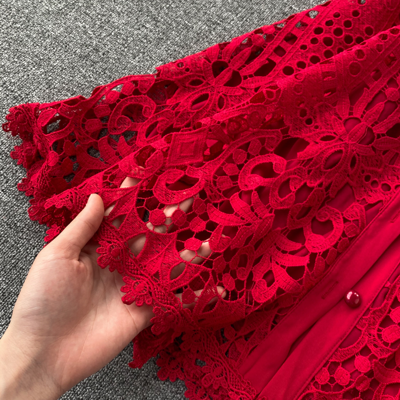 Elegant Hollow Out Balck Red White Short Sleeve Beach Dress 14