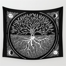 Tapiz de pared de Tarot árbol Luna sol dentadura Hippie tapiz psicodélico pared tela mariposa ojo Mandala pared alfombra manta Yoga