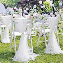 200x150cm Wedding Chair Bows Soft Yarn Chair Sashes Wedding Chair Knot Band Belt Ties For Birthday Banquet Home Decoration