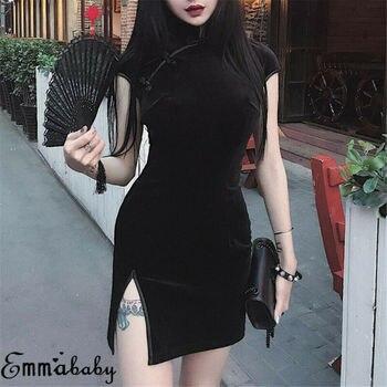 Chiński Qipao kobiet Cheongsam zapięcie elegancka z rozcięciem sukienka z krótkim rękawem kobiety aksamitne Club Party tradycyjne litego Mini sukienka