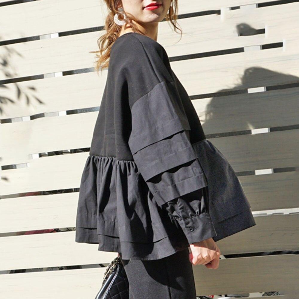 Spring Long Sleeve Women Hoodie Korean Black Ruffles Patchwork Loose Pullover Tops Harajuku Oversized Sweatshirt Streetwear