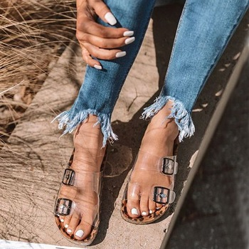 Women Shoes Sandals Woman Flip Flop Flat Slippers Snake Pattern Summer Beach Shoes Transparent Belt Buckle Casual Flat Shoes sandals 2016 new famous brand buckle womens flip flop sandals summer beach sandals af327