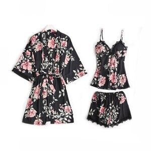 Image 3 - 5 pièces pyjamas ensemble de sommeil femmes vêtements de nuit col en v déshabillé en dentelle Sexy nuisette peignoir porter costume maison Robe de printemps déshabillé