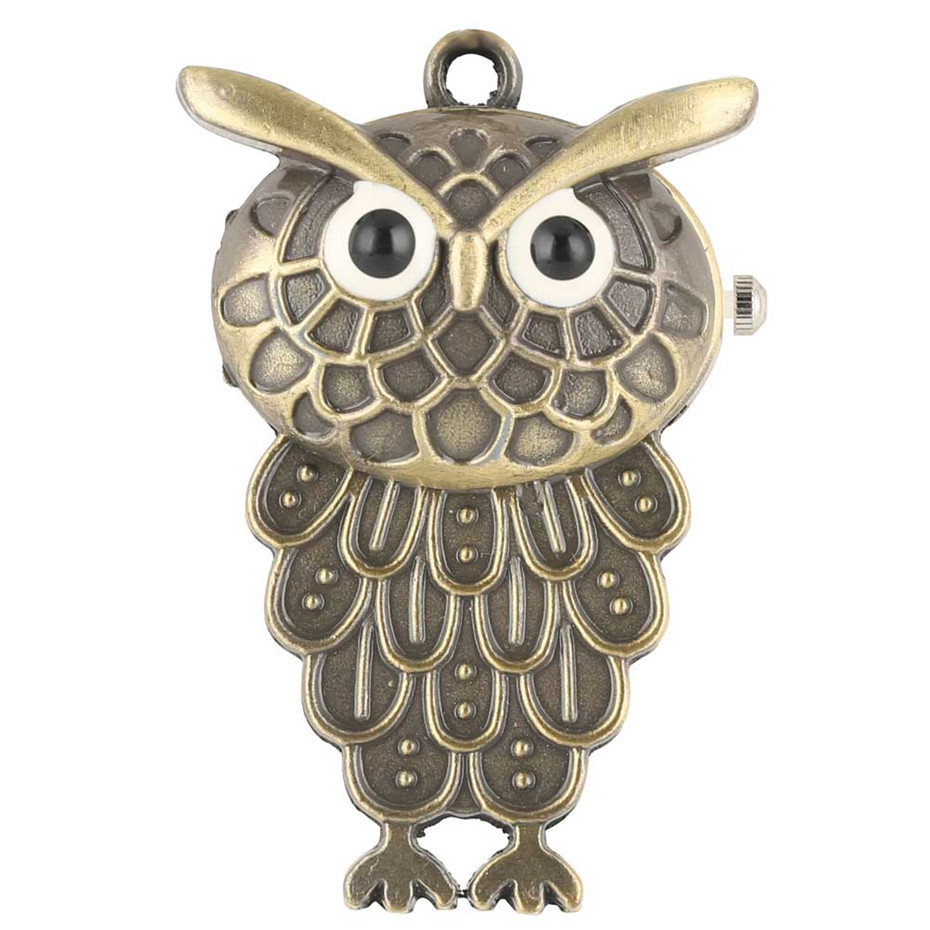 Brown Owl Shape Quartz Pocket Watch Little Size Pendant Clock Fob Sweater Chain Lovely Gifts For Kids Baby Watch Relojes