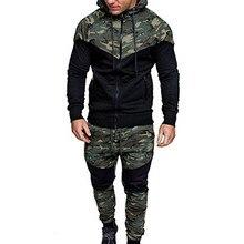 Camuflagem masculina conjunto impresso 2019 nova causal retalhos jaqueta agasalho moletom moletom moletom moletom calças basculante ternoConjuntos Masculinos
