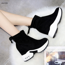 Women Ankle Boots Platforms Shoes Woman High Heels Inside Height Increasing 10cm Faux suede Boots Lace up Sneakers 35-39 z261
