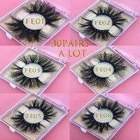 MIKIWI 30Pairs/lot 25mm 3D MINK lashes Soft Dramatic Long Makeup Lash 3D real Mink Eyelash 100% Handmade Natural false Eyelashes