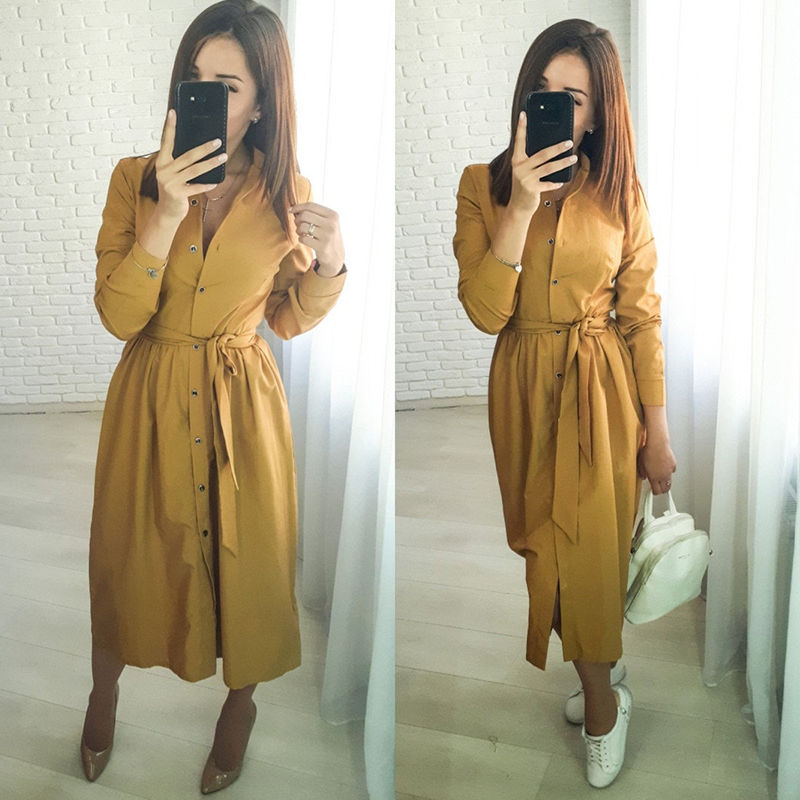 Women Casual Sashes A Line Party Dress Ladies Long Sleeve Stand Collar Elegant Office Work Dress 2019 New Fashion Women Winter