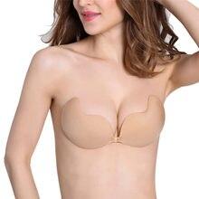 3 boyutu siyah/çıplak yapıştırıcı Backless Bralette dikişsiz sutyen görünmez A/B/C sinek sütyen straplez silikon push Up sütyen kendinden