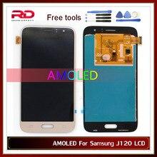 AMOLED J120F شاشة LCD لسامسونج غالاكسي J1 2016 LCD J120 J120F J120M J120H J120DS J120G LCD تعمل باللمس محول الأرقام الجمعية