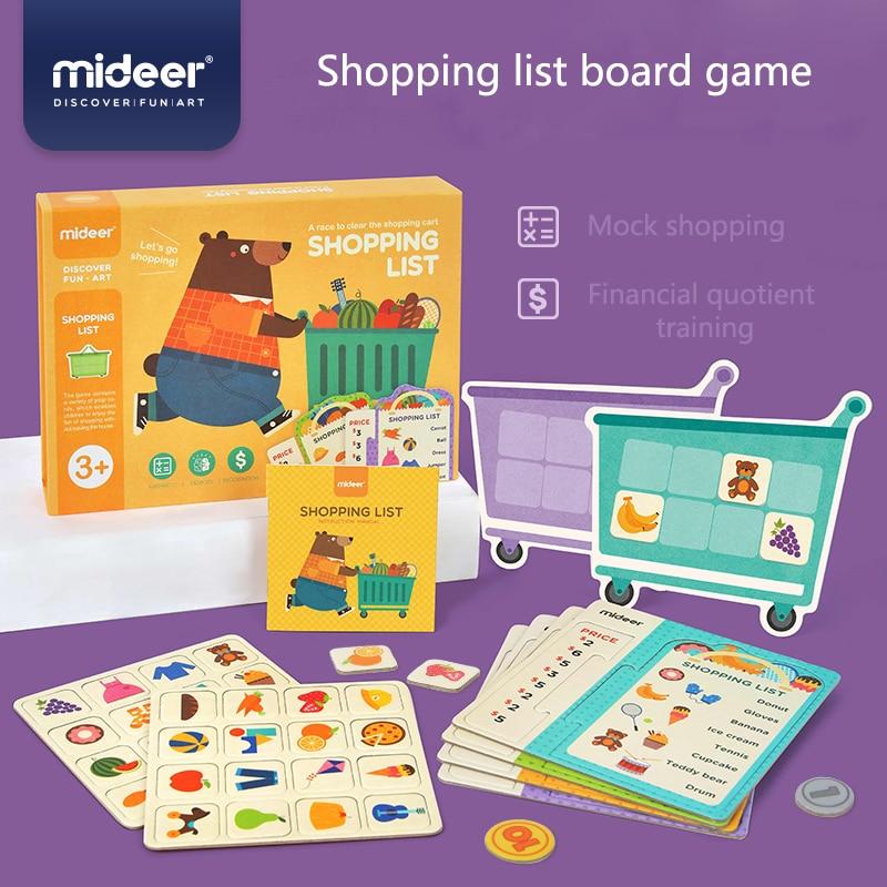 Mideer brinquedos de educação do bebê lista de compras jogo de mesa simulação supermercado operação memória 3y + crianças jogo de dinheiro cognitivo
