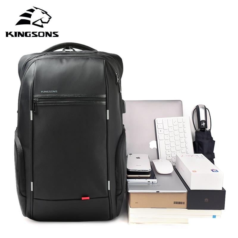KINGSONS 13.3 15.6 17.3 Inch Laptop Rugzak Externe USB Charge Computer Rugzakken Anti diefstal Waterdichte Tassen voor Mannen Vrouwen-in Rugzakken van Bagage & Tassen op  Groep 1