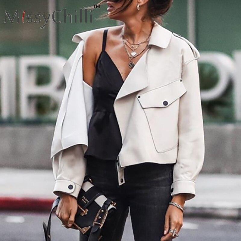 MissyChilli PU leather   basic     jacket   coat Women autumn turn down collar short coat pocket female streetwear 2019 fashion outwear