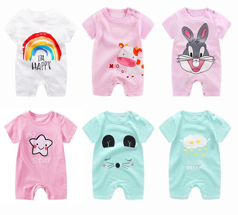 2020 Cheap cotton Baby romper Short Sleeve baby clothing One Piece Summer Unisex Baby Clothes girl and boy jumpsuits Giraffe | Happy Baby Mama