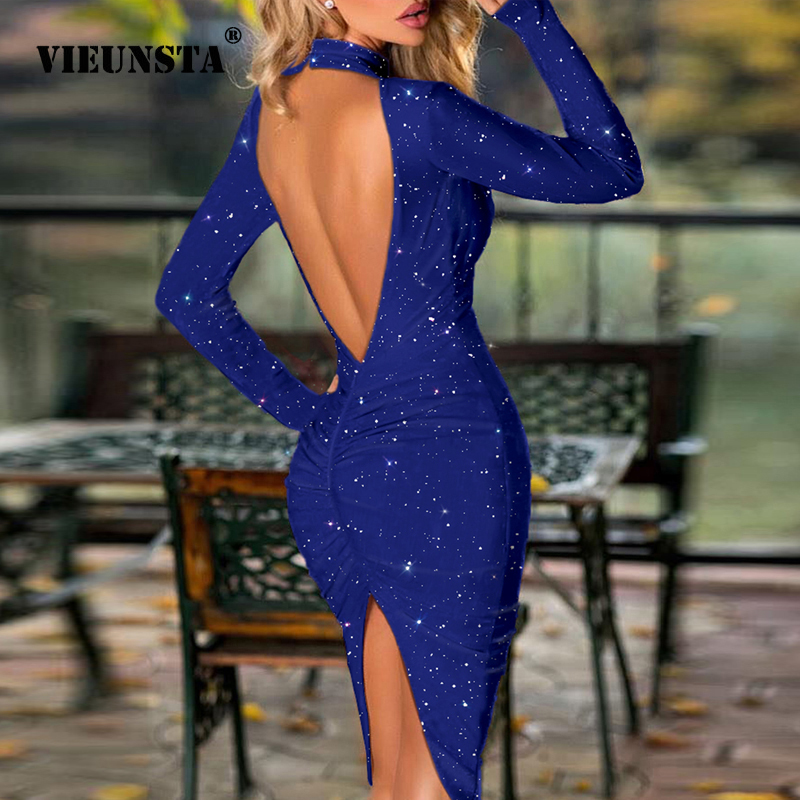 Spring Hollow Out Backless Slit Party Dress Women Sexy Halter Bright Silk Shiny Dress Autumn Long Sleeve Solid Knee-Length Dress