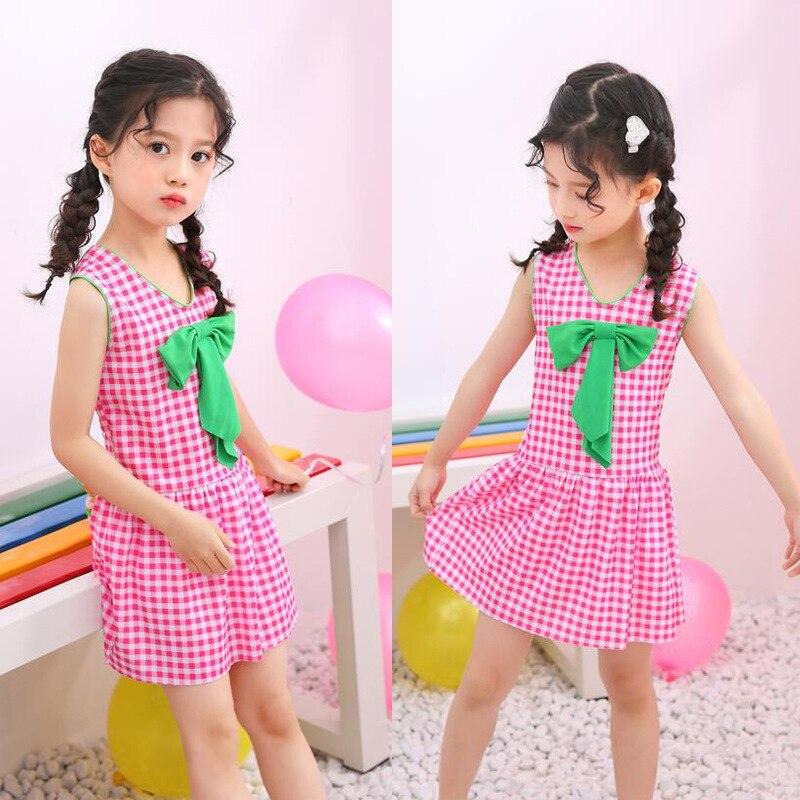 KID'S Swimwear Women's Children 3-8-Year-Old Korean-style Polka Dot Bow Students Dress Boxers Swimwear