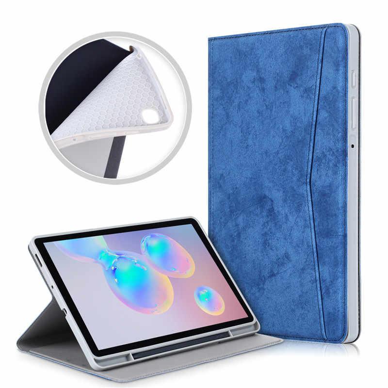 """สำหรับSamsung Galaxy Tab S6 Lite 10.4 """"ฝาครอบFundaสำหรับGalaxy Tab S6 Lite SM P610 P615นุ่มPuหนังสมาร์ทฝาครอบ"""