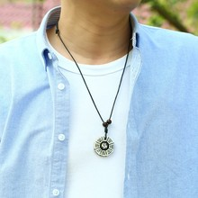 Chinese Tradition Tai Chi Pendant Necklace Pure Handmade Resin Yin Yang Fish Gossip Amulet Mens Jewelry