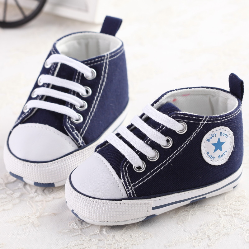 Baby Shoes Blue Red White Lace Up Newborn Canvas Shoes Cute Baby Girls Shoe Kid Infant Toddler Soft Anti-Slip Baby Boys Sneakers