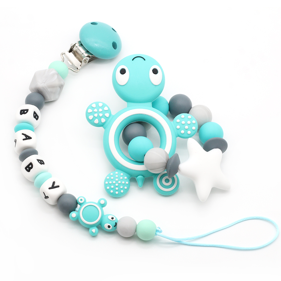 Tortoise Silicone Baby Pacifier Clip Personalised Name Pacifier Chain Holder Baby Rattles Teething Soother Chew Toy Dummy Clips