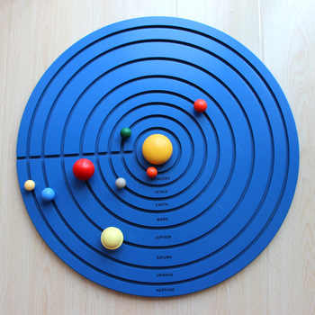 3D Eight Planets Solar System Montessori Educational Wooden Toys Early Childhood Educational Toddler Learning Preschool Toys