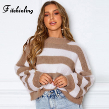 Fitshinling Hairy Striped Women Sweaters Winter 2019 Fuzzy Slim Long Sleeve Knitted Jumper Pullovers Femme Boho Sweater Ladies
