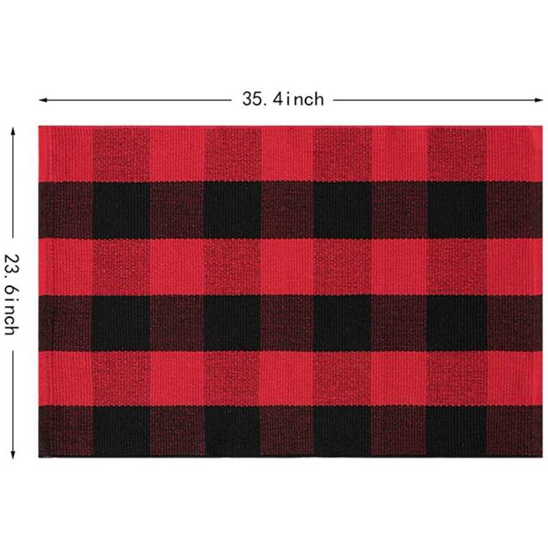 Plaid Cotton Rug Nonslip Checkered Rugs