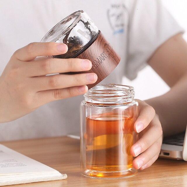 200ml שכבה כפולה גבוהה בורוסיליקט זכוכית תה Infuser בקבוק כוס עם נירוסטה מסנן תיק למשרד ילד נשים חכם
