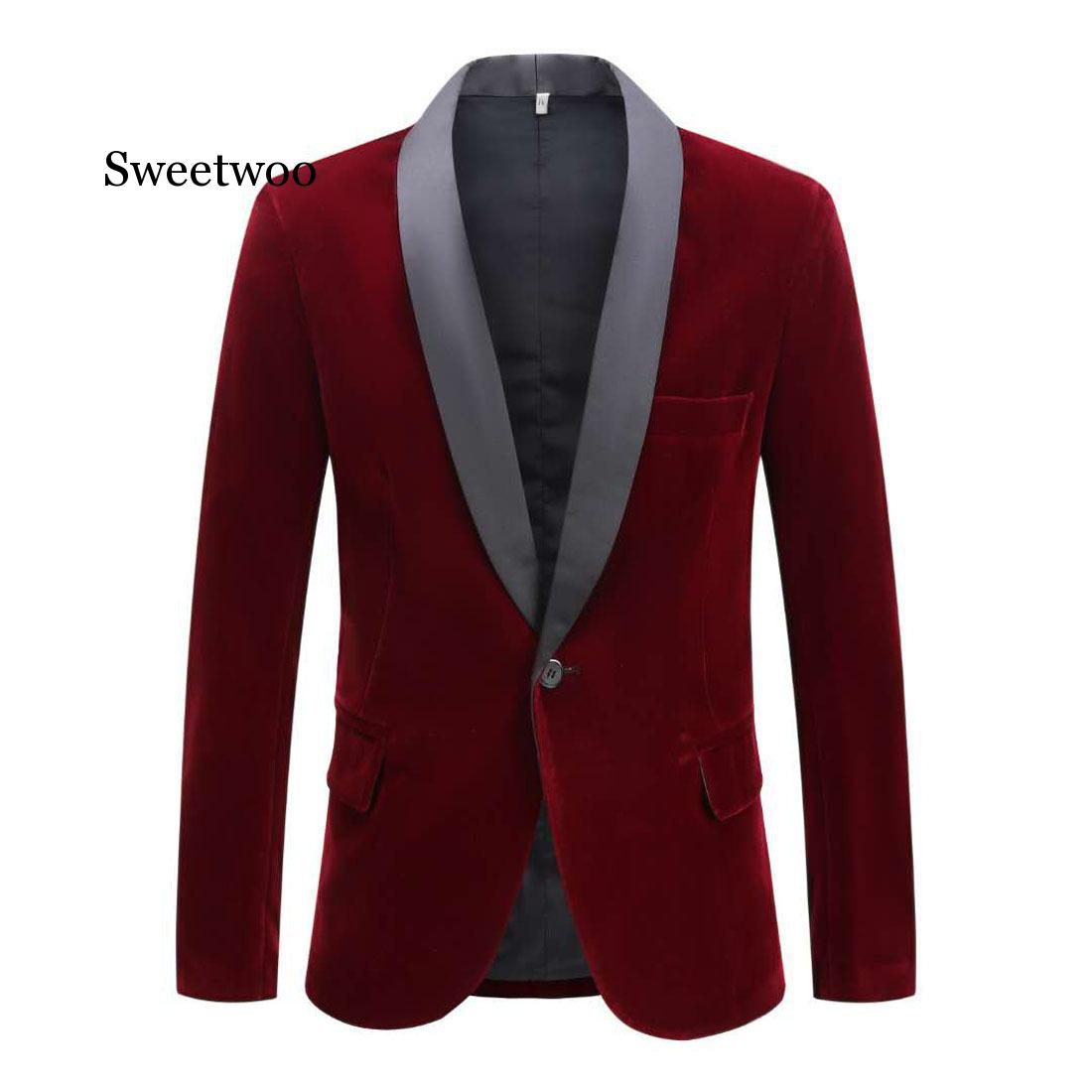SWEETWOO Men's Autumn Winter Velvet Wine Red Fashion Suit Jacket Singer Slim Fit Blazer