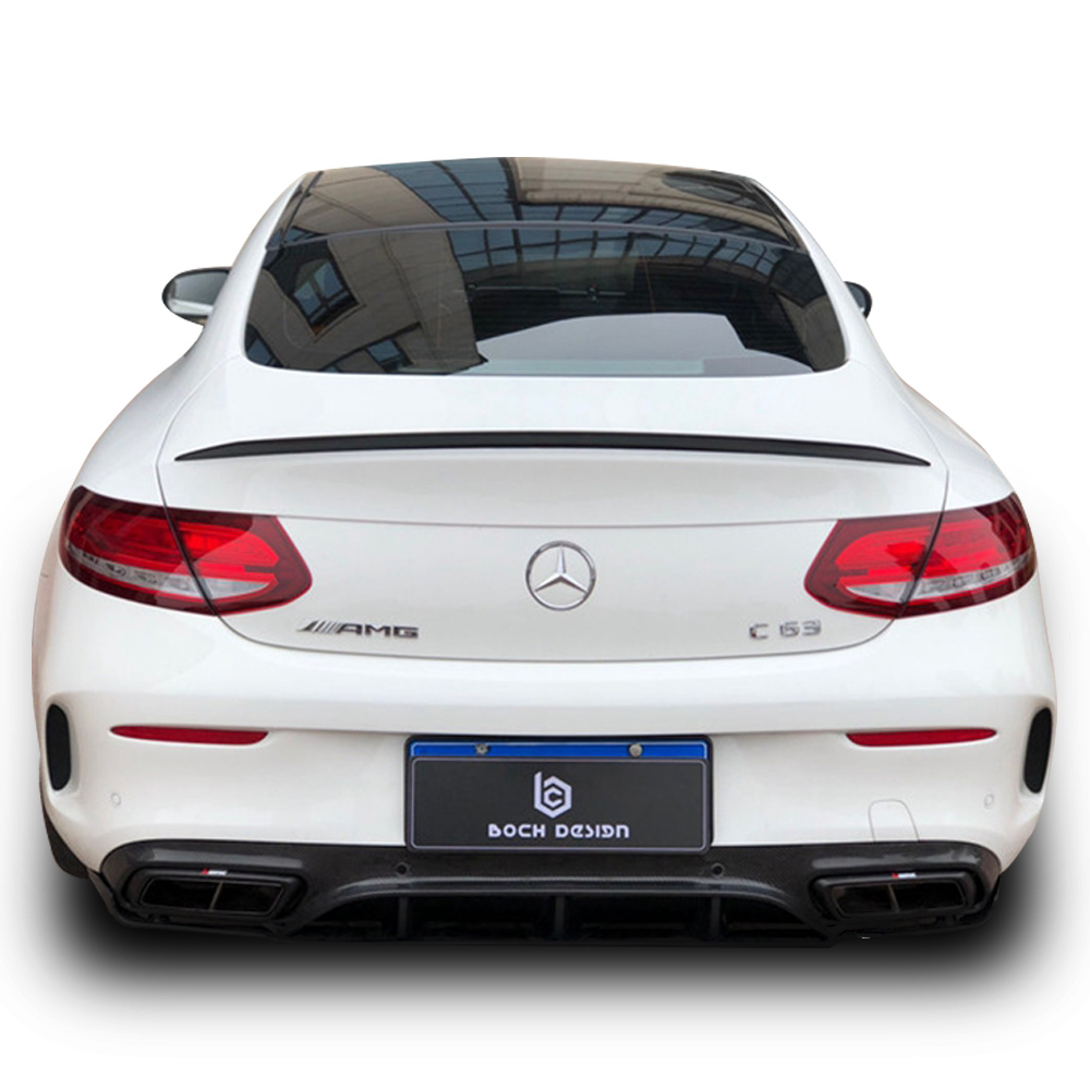 Carbon Fiber <font><b>Rear</b></font> Roof <font><b>Spoiler</b></font> Trunk Lip Boot Wing For <font><b>Mercedes</b></font> <font><b>Benz</b></font> C63 W205 C205 2015 + C Class C250 <font><b>C300</b></font> C350 2-door Coupe image