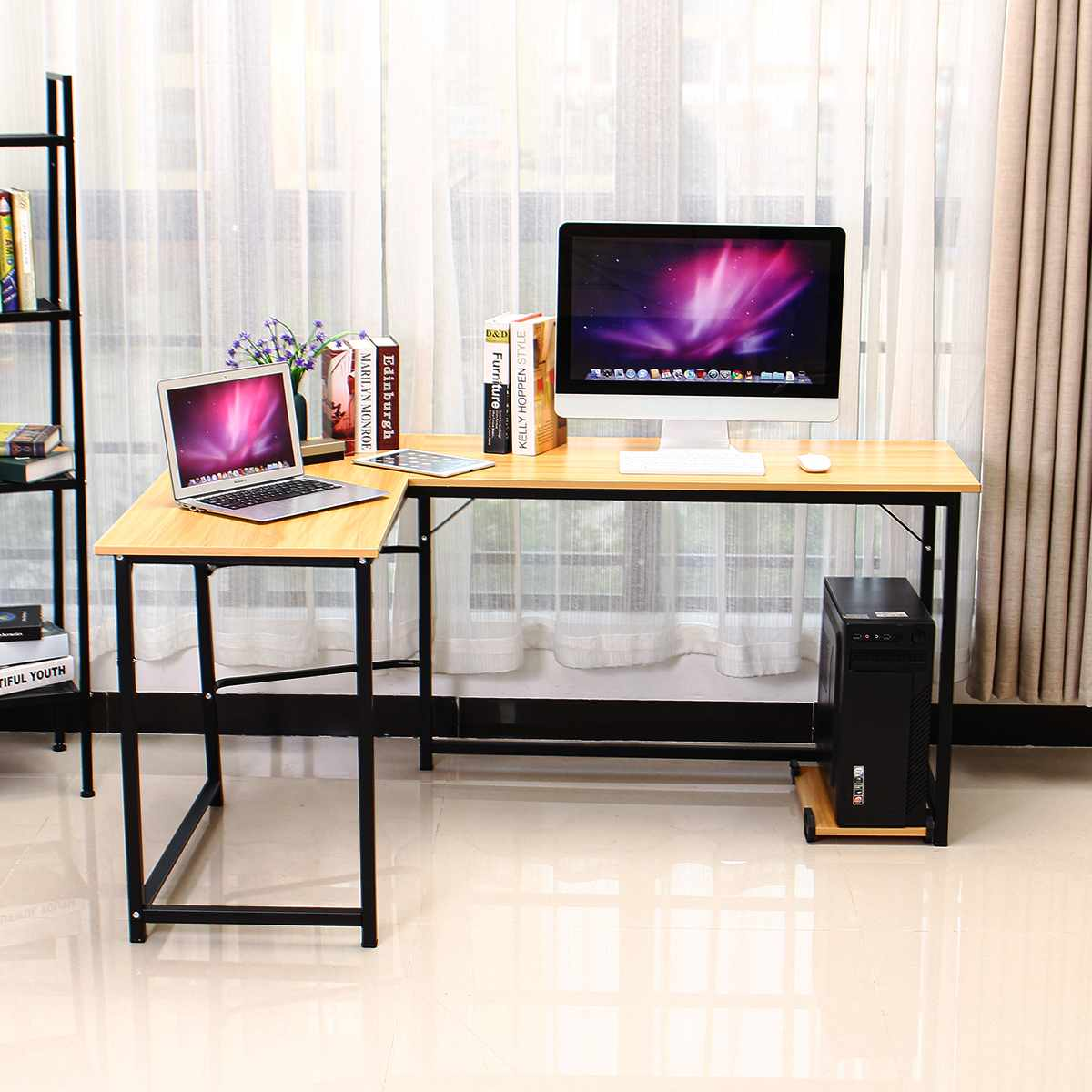 Wooden Office Computer Writing Desk Home Gaming PC Furnitur L-Shape Corner Study Computer Table Laptop Desk Laptop Table