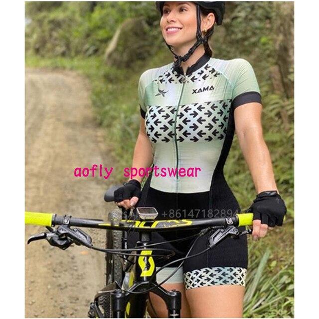 Xama pro equipe conjunto de ciclismo feminino pequeno macaco ciclismo camisa terno manga curta macacão triathlon roupas 4