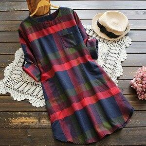 Home&Nest Autumn Plus Size 5xl Plaid Cotton Knee Length Dresses Women Elegant Swing Tshirt Dress Party Long Sleeve Vestidos